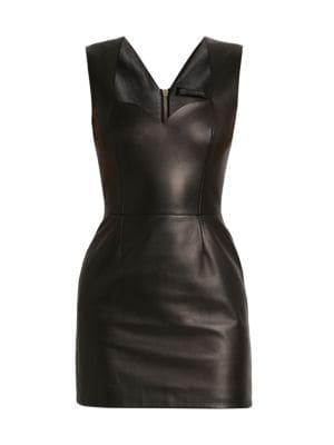 Sweetheart Leather Mini Dress
