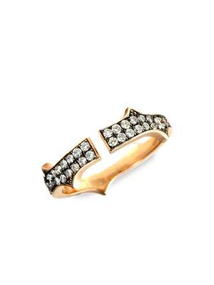 Thorn 14K Rose Gold & Diamond Split Ring