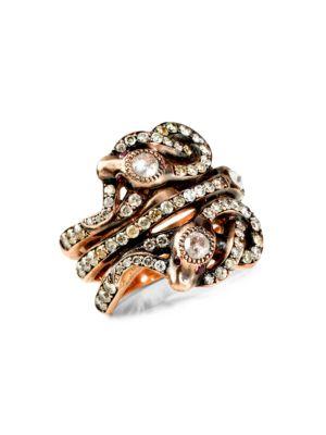 14K Rose Gold, Diamond & Ruby Triple Snake Ring
