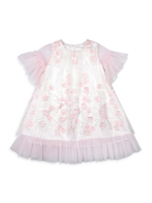 Little Girl's Floral Applique Embroidered Dress
