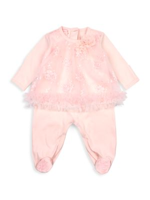 Baby's & Little Girl's Baby Biscotti Floral-Embroidered Mesh Footie