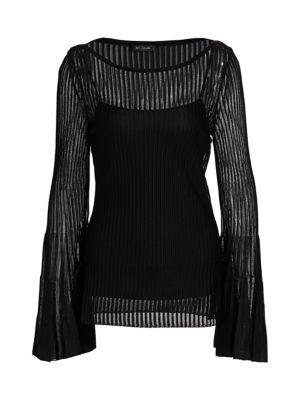 Tubular Striped Transparent Knit Top