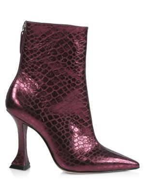 Loiva Croc-Embossed Metallic Leather Boots