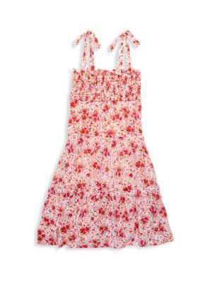 Little Girl's & Girl's Floral Smocked Cotton Midi Dress
