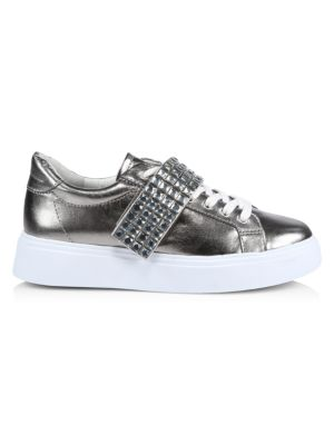 Maiva Crystal-Embellished Metallic Leather Sneakers