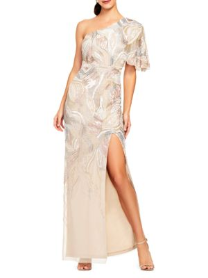 Beaded One-Shoulder Gown