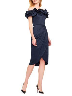 Off-The-Shoulder Satin Cocktail Dress