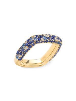 Zone 18K Yellow Gold, Blue Sapphire & Diamond Ring