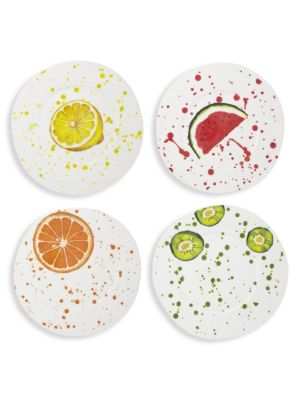 Melamine Fruit 4-Piece Assorted Dinner Plates