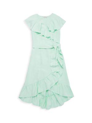 Girl's River Ruffle Wrap Dress
