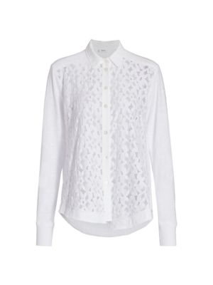 Mixed Lace Button-Up Shirt