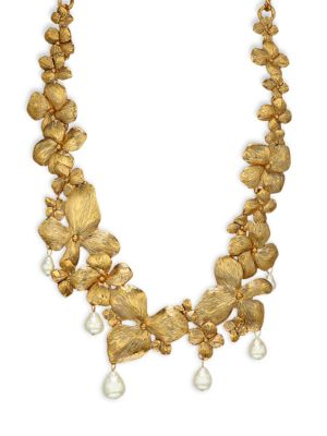 Goldtone Flower & Faux Baroque Pearl Drop Necklace
