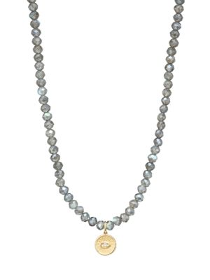 14K Yellow Gold, Labradorite & Diamond Evil Eye Charm Beaded Necklace