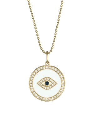 14K Yellow Gold, Enamel, Diamond & Sapphire Evil Eye Pendant Necklace