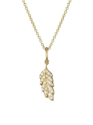 14K Yellow Gold & Diamond Feather Charm Necklace