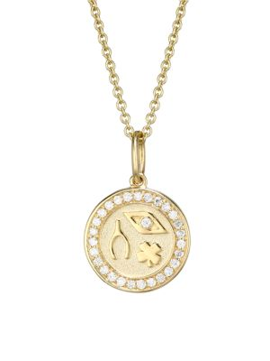 14K Yellow Gold & Diamond Tiny Luck & Protection Coin Pendant Necklace