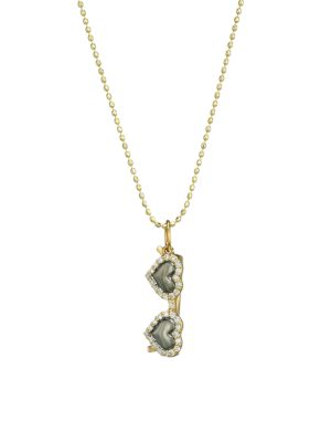 14K Yellow Gold & Diamond Heart Sunglasses Charm Necklace