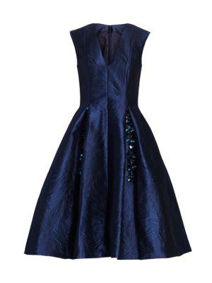 Licuala Grandis Jacquard Fit-&-Flare Dress