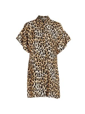 Jude Ruffle-Sleeve Leopard Shirtdress