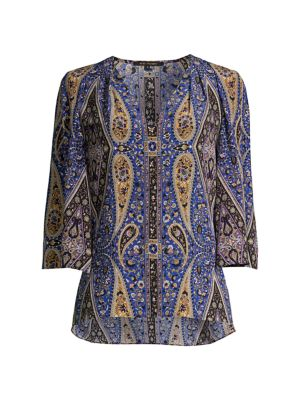 Jeneva Printed Silk Blouse