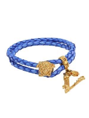 Medusa Braided Leather Wrap Bracelet