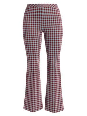Pull-On Flare Gingham Pants