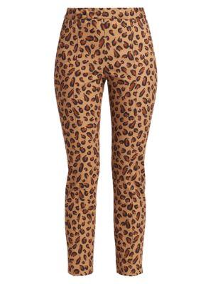 Skinny Leopard-Print Pull-On Pants