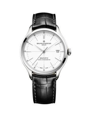 Clifton Baumatic Stainless Steel & Alligator Strap Chronometer Watch