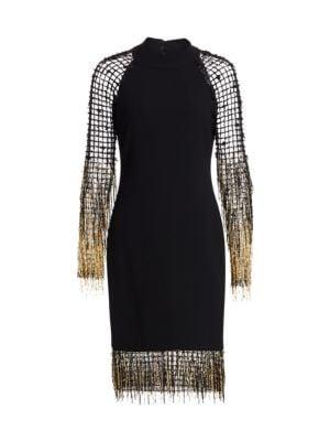 Fringe Net Crepe Cocktail Dress