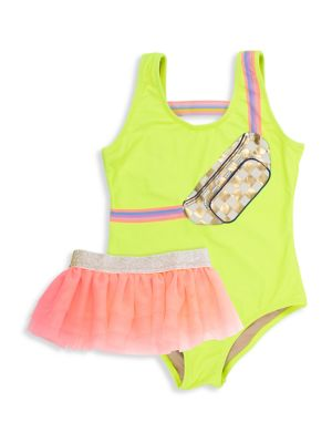 Little Girl's 2-Piece Fanny Pack One-Piece Swimsuit & Tutu
