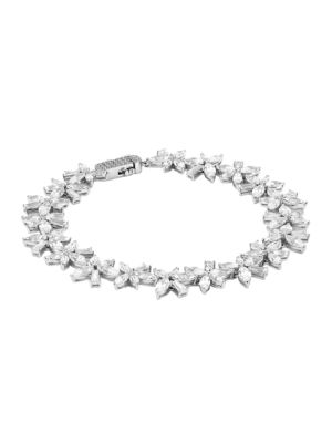Cubic Zirconia Cluster Flower Bracelet