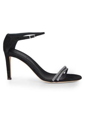 Swarovski Crystal Ankle-Strap Suede Sandals