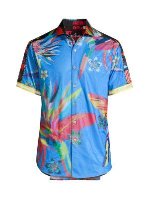 Floral Stretch-Cotton & Linen Shirt