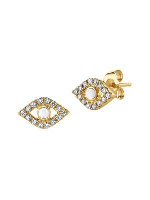 14K Yellow Gold, Diamond & Pearl Evil Eye Stud Single Earring