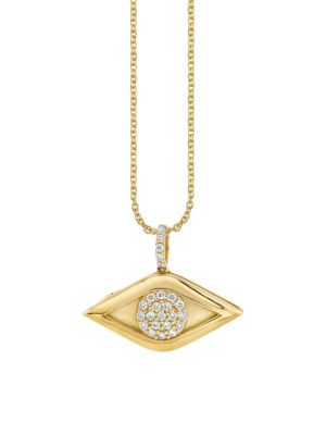 14K Yellow Gold & Diamond Evil Eye Locket Necklace