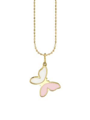 14K Yellow Gold & Enamel Butterfly Charm Necklace