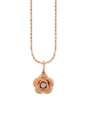 14K Rose Gold & Diamond Rose Pendant Necklace