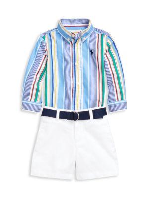 Baby Boy's 3-Piece Poplin Shirt, Belt & Short Set