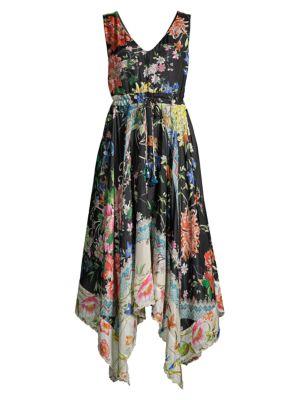 Meru Floral Silk Midi Dress