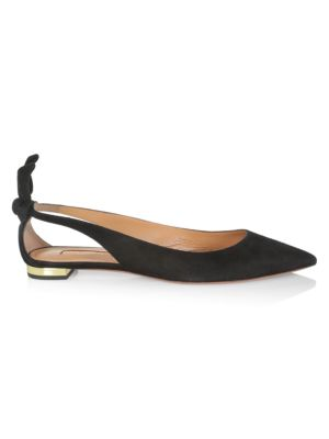 Bow Tie Cutout Suede Ballet Flats