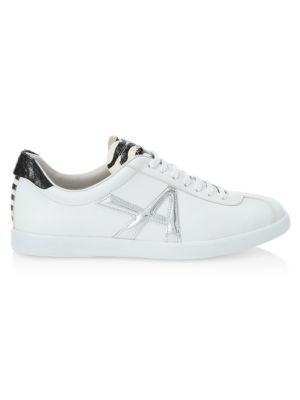 The A Snakeskin-Trimmed Leather Sneakers