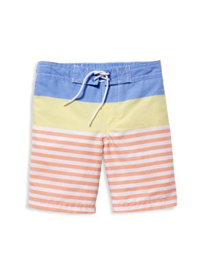 Little Boy's & Boy's Colorblock Striped Drawstring Swim Trunks