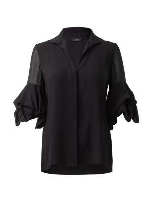 Draped-Sleeve Silk Blouse