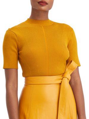 Short-Sleeve Mockneck Knit Top