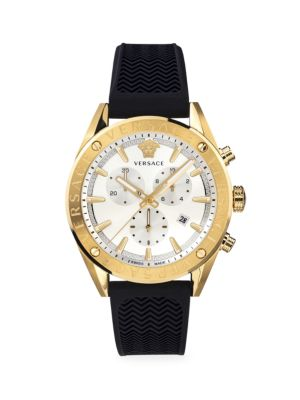 V-Chrono IP Yellow Gold Black Silicone Strap Quartz Watch