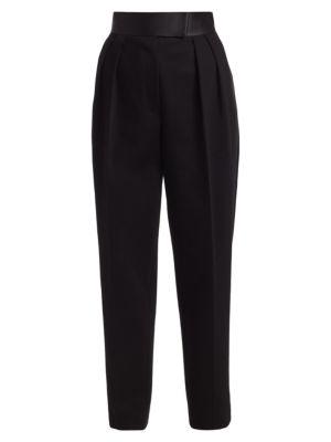 High-Waisted Pleated Tuxedo Trousers