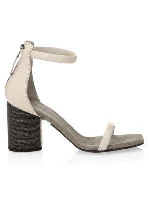 Monili-Heel Leather Sandals