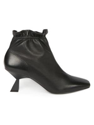 Elasticized Square-Toe Leather Booties