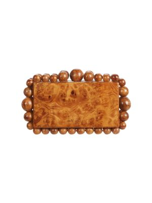 Eos Beaded Wood Box Clutch