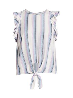 Ruffle-Sleeve Tie-Hem Top